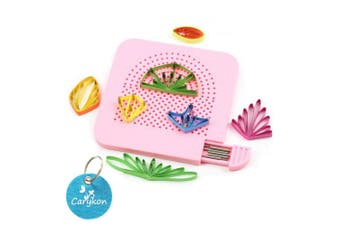 (Pink) - Carykon Roll Quiller's Grid Guide Quilling Board with Pins Storage for Paper Crafting Winder Roll Square Craft DIY Tool (Pink)