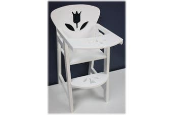 46cm Doll Furniture Wooden Doll High Chair with Lift-Up Tray - (46cm White Floral) Fits American Girls Dolls