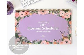 (Lavendar) - 'Blossom Scheduler' 2017 Planner Calendar Wire Bound Monthly Planner Desk Pad Calendar Organiser Calendar Schedule Agenda, 14 Months, 37cm x 23cm (Lavendar)