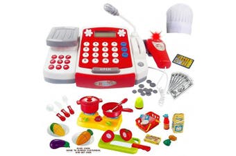 Kids Cash Register Toy With Sound Effects & Microphone, Calculator, With Cooking and Play Food Set and Chef Hat, Perfect for Playing Restaurant or Supermarket