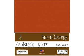 (30cm  x 30cm  - 25 Sheets) - Burnt Orange Cardstock - 30cm x 30cm - 29kg Cover - 25 Sheets