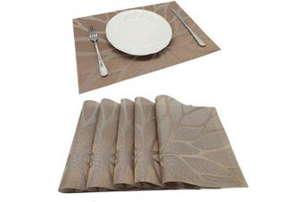 (PVC Material, Flower-brown) - Tennove Placemats Set of 6, Washable Placemats PVC Cross Weave Woven Vinyl Table Mats for Kitchen Dining Table Decoration(Flower-Brown)