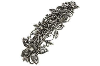Vintage Silver Leafy Barrette Large Hair Clip