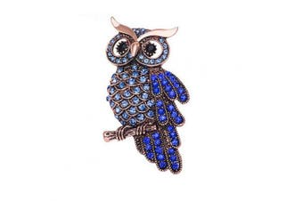 (Blue) - AiSi Delicate Owl Brooch with Austrian Element Crystal for Women Men