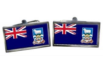 Falkland Islands Flag Cufflinks in a Chrome Case
