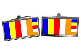 Buddhist Flag Flag Cufflinks in a Chrome Case