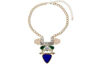 Adorning Ava Statement Jewel Choker Necklace Geometric Pendant Collar Chunky Gold Purple Green Modern