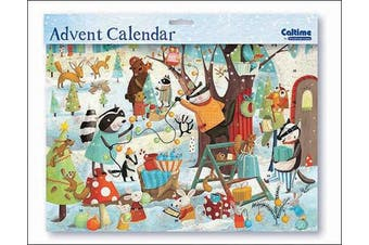 Ready to Party Animals Woodland Advent large advent calendar with white envelope Size: 245mm x 350mm ...