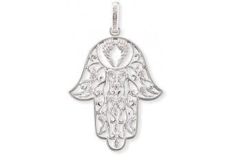 Engelsrufer Women's 925 Sterling Silver Rhodium Plated Hand of Fatima Earrings, Size 48 mm