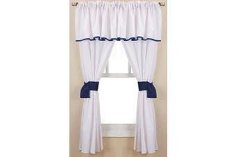 (Navy) - Baby Doll Bedding Forever Mine Junior 5 Piece Window Valance Curtain Set, Navy