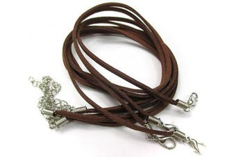 (43cm , BROWN) - ALL in ONE 10pcs Faux Leather Suede Cord Necklace with Lobster Clasp Extended Chain (43cm , BROWN)