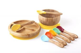 (Yellow Gift Set) - Rainbow Gift Set Yellow - Baby Shower, Baby Registry, Home Set & More. Baby Girl, Baby Boy, Unisex. Baby Bowl Set + Baby Plate Set + Assorted Baby Spoons Set. FDA Approved BPA Free