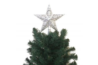 (PS5. Silver SW) - 21cm H Star Tree Topper With Swirl Christmas Tree Decoration - Silver
