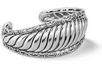 (MEDIUM) - Carolyn Pollack Sterling Silver Ribbed Cuff Bracelet Size S, M or L