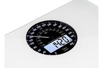 (white) - Ozeri Rev Digital Bathroom Scale with Electro-Mechanical Weight Dial