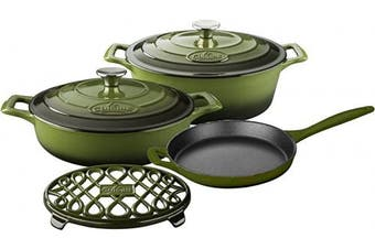 (Green) - La Cuisine LC 2950 Green 6-Piece Enamelled Cast Iron Cookware Set (Oval Casserole/Trivet)