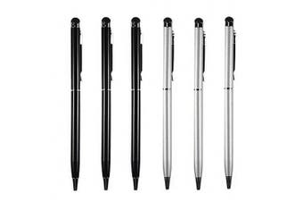 (6X Stylus (3 Black + 3 Silver)) - Stylus [6 Pcs], 2-in-1 Universal Touch Screen Stylus + Ballpoint Pen For Smartphone/Tablets iPad iPhone Samsung etc