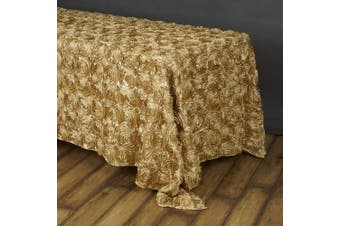 (Champagne) - BalsaCircle 90x156 Champagne Satin Raised Rosettes Rectangle Tablecloth Wedding Party Dining Room Table Linens