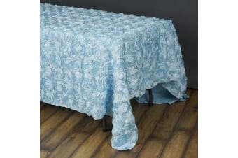 (Blue) - BalsaCircle 90x156 Light Blue Satin Raised Rosettes Rectangle Tablecloth Wedding Party Dining Room Table Linens