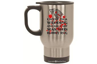 (410ml Silver) - Game of Thrones Wedding - Dire Wolf Bloody Mug - Coffee or Tea Cup 410ml by BeeGeeTees® (410ml Silver)
