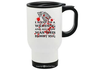 (410ml White) - Game of Thrones Wedding - Dire Wolf Bloody Mug - Coffee or Tea Cup 410ml by BeeGeeTees® (410ml White)
