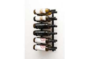 (12 Bottles, Satin Black) - VintageView WS22 0.6m 12 Bottle Wall Mounted Wine Rack in Satin Black