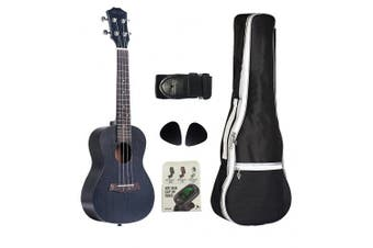 (23 inch Black) - VIVICTORY Concert Ukulele 60cm Mahogany Aquila String, Beginner Kit Tuner Gig Bag Straps and Picks - Black