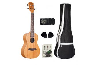 (23 inch Natural Color) - VIVICTORY Concert Ukulele 60cm Mahogany Aquila String, Beginner Kit Tuner Gig Bag Straps and Picks - Natural Colour
