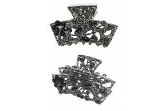 (jet) - Metal Crystal Jaw Clip U86480-0354jet