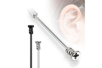 (Steel) - 1 x Industrial Scaffold straight Piercing Bar Screw Phillips Head 35mm Steel and Black IP barbell