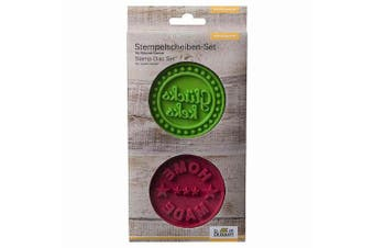 "Birkmann ""Gluckskeks and Home Made"" Stamps Slices Set, Silicone, Green/Dark Red"