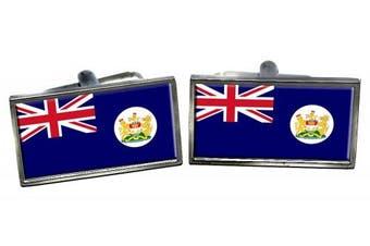 British Hong Kong Flag Cufflinks in a Chrome Case