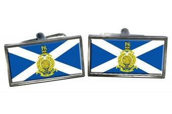 Royal Marines Reserves Scotland Flag Cufflinks in a Chrome Case