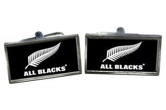 All Blacks (New Zealand) Flag Cufflinks in a Chrome Case
