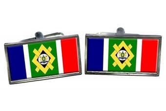 Johannesburg (South Africa) Flag Cufflinks in a Chrome Case