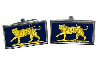 Princess of Wales Royal Regiment Tiger Flag Cufflinks in a Chrome Case