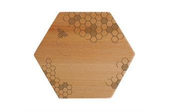 (Honey Bee) - Talisman Designs Beechwood Cheese Board, Laser Etched with Honey Bee Art, 18cm Wide