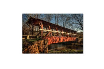 (30cm  by 48cm ) - Trademark Fine Art The Colvin Covered Bridge Artwork by Lois Bryan, 30cm by 48cm