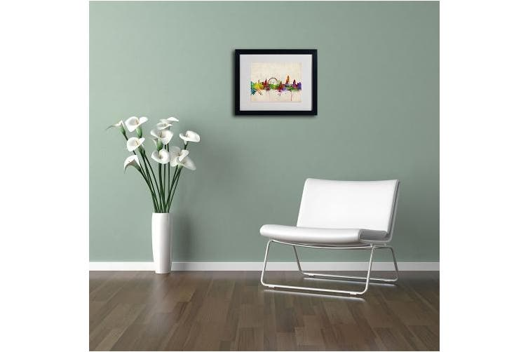 (28cm  by 36cm ) - Trademark Fine Art London Skyline Framed Matted Art by Michael Tompsett, 28cm by 36cm , Black Frame