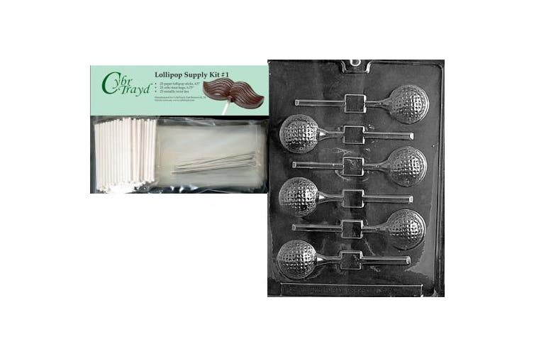 Cybrtrayd 45StK25S-S071 Golf Ball Lolly Sports Chocolate Candy Mould, Includes 25 Lollipop Sticks, 25 Cello Bags and 25 Silver Twist Ties