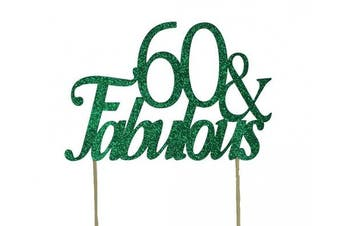 All About Details Green 60- & -fabulous Cake Topper