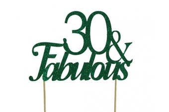 All About Details Green 30- & -fabulous Cake Topper