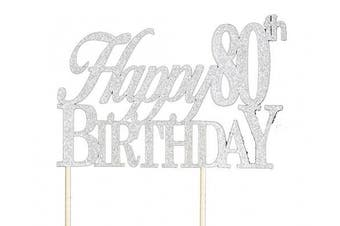 All About Details Silver Happy-80th-birthday Cake Topper