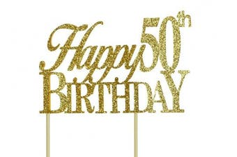 (9 5/8 x 16cm  x 4.1cm ) - All About Details Gold Happy-50th-birthday Cake Topper