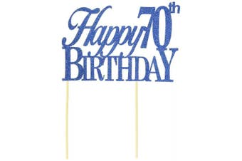 All About Details Blue Happy-70th-birthday Cake Topper