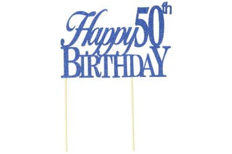 All About Details Blue Happy-50th-birthday Cake Topper