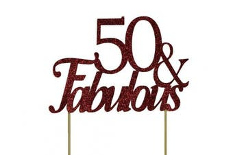 All About Details Red 50- & -fabulous Cake Topper