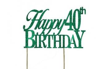All About Details Green Happy-40th-birthday Cake Topper