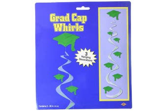 (Green) - Printed Grad Cap Whirls (green) (3/Pkg)