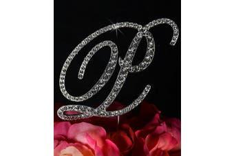 Unik Occasions Victorian Crystal Rhinestone Wedding Cake Topper, Small, Letter P, Silver